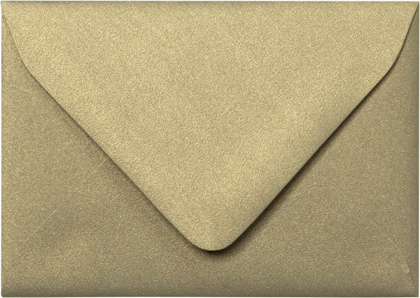 "A-1 (RSVP) Gold Leaf Metallic Euro Flap Envelopes (3 5/8"" x 5 1/8"") - Paperandmore.com"