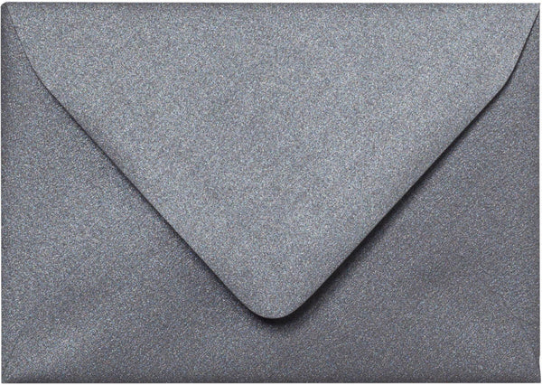 "A-1 (RSVP) Steel Gray Metallic Euro Flap Envelopes (3 5/8"" x 5 1/8"") - Paperandmore.com"
