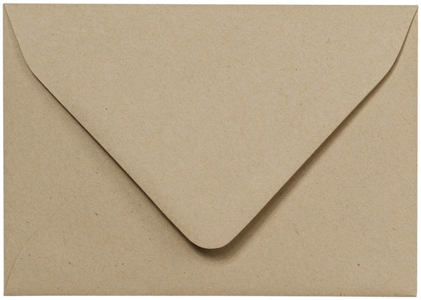 "A-1 (RSVP) Taupe Brown Fiber Recycled Euro Flap Envelopes (3 5/8"" x 5 1/8"") - Paperandmore.com"