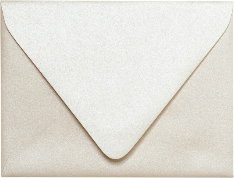 "A-2 Champagne Cream Metallic Euro Flap Envelopes (4 3/8"" x 5 3/4"") - Paperandmore.com"