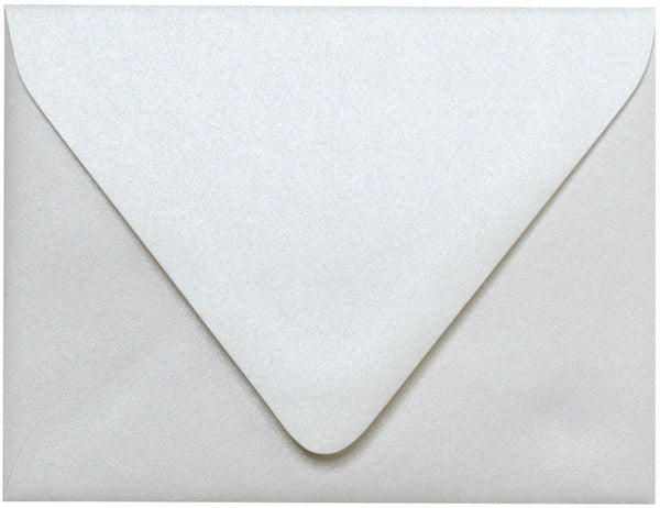 "A-2 Pearl White Metallic Euro Flap Envelopes (4 3/8"" x 5 3/4"") - Paperandmore.com"