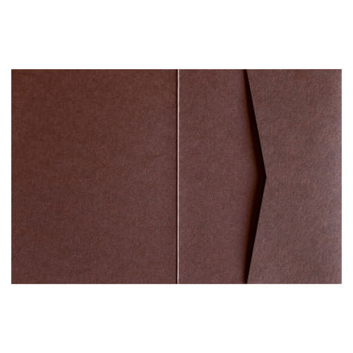Chocolate 100# Brown Solid Pocket Invitation Card, A2 Sierra - Paperandmore.com