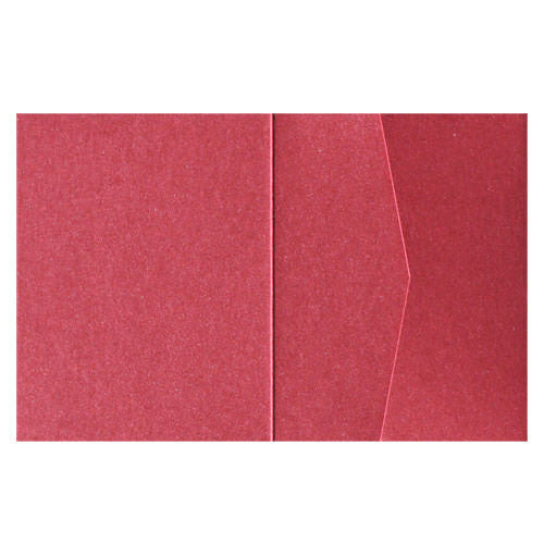 Crimson Red Metallic Pocket Invitation Card, A2 Sierra - Paperandmore.com