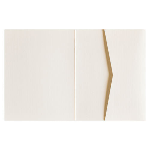 Metallic Cream 84# Linen Pocket Invitation Card, A2 Sierra - Paperandmore.com