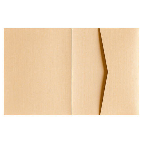 Metallic Gold 84# Linen Pocket Invitation Card, A2 Sierra - Paperandmore.com