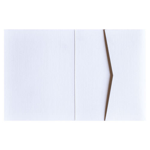 Metallic White 84# Linen Pocket Invitation Card, A2 Sierra - Paperandmore.com