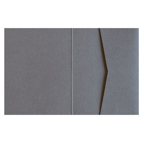 Steel Gray 92# Metallic Pocket Invitation Card, A2 Sierra - Paperandmore.com