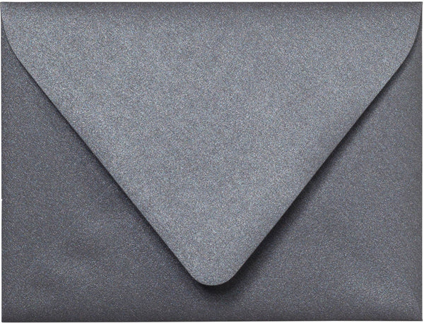 "A-2 Steel Gray Metallic Euro Flap Envelopes (4 3/8"" x 5 3/4"") - Paperandmore.com"
