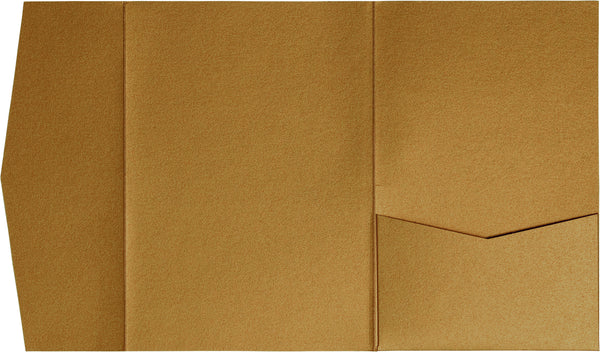 Antique Gold Metallic Pocket Invitation Card, A7 Himalaya