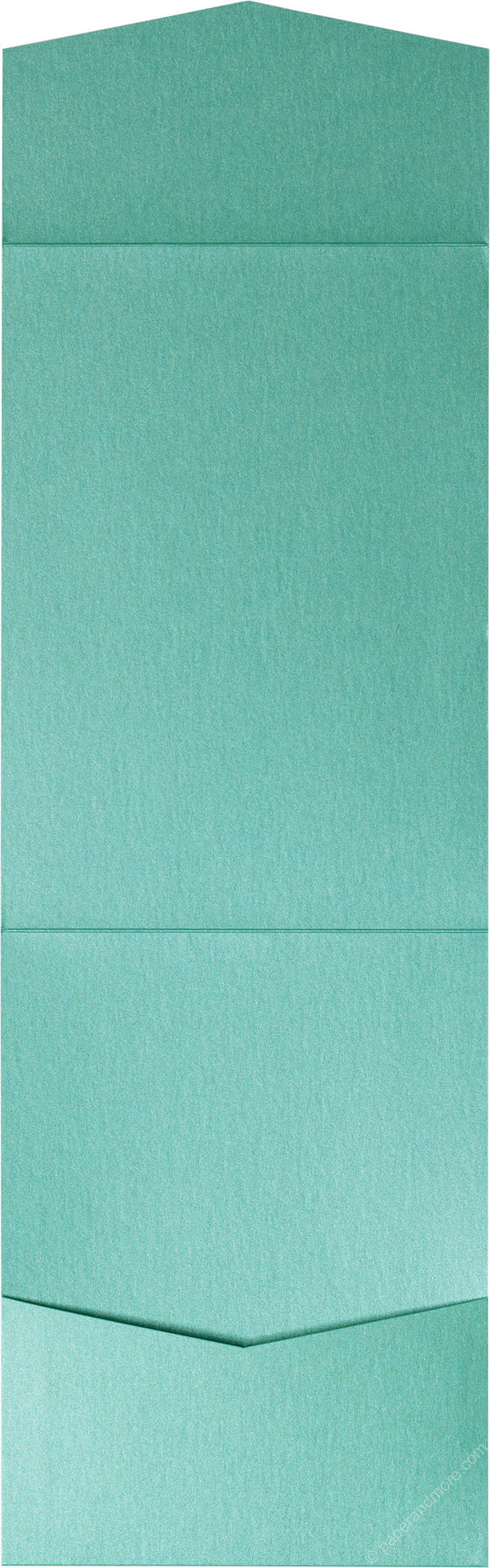 Aqua Lagoon Metallic Pocket Invitation Card, A7 Cascade - Paperandmore.com