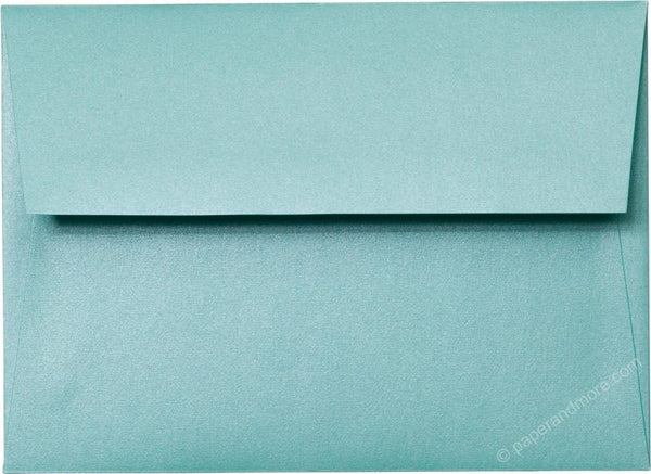 "Outer A-7.5 Aqua Lagoon Metallic Square Flap Envelopes (5 1/2"" x 7 1/2"") - Paperandmore.com"