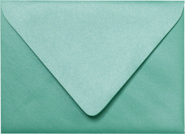 "Outer A-7.5 Aqua Lagoon Metallic Euro Flap Envelopes (5 1/2"" x 7 1/2"") - Paperandmore.com"