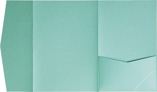 Aqua Lagoon Metallic Pocket Invitation Card, A7 Himalaya - Paperandmore.com