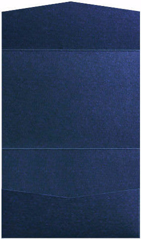 Dark Blue Metallic Pocket Invitation Card, A7 Atlas - Paperandmore.com