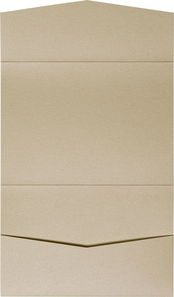 Beige Sand Metallic Pocket Invitation Card, A7 Atlas - Paperandmore.com