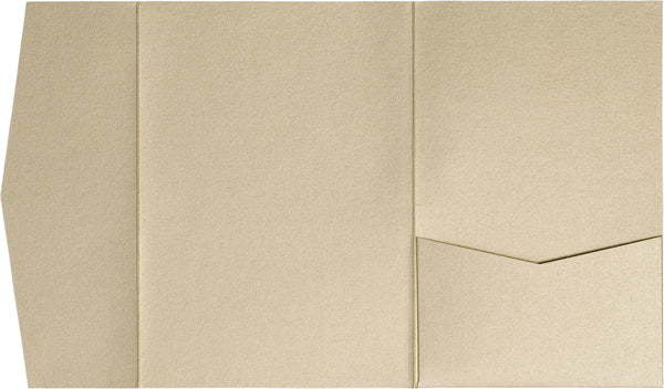 Beige Sand Metallic Pocket Invitation Card, A7 Himalaya