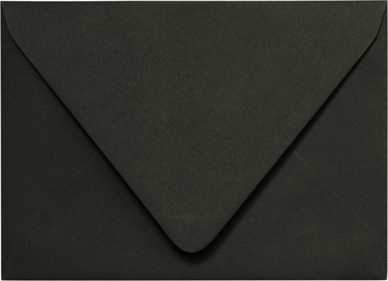 "Outer A-7.5 Solid Black Euro Flap Envelopes (5 1/2"" x 7 1/2"") - Paperandmore.com"