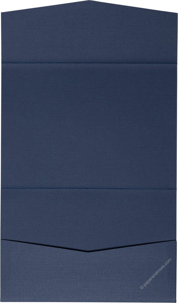 Blazer Blue Linen Pocket Invitation Card, A7 Atlas - Paperandmore.com