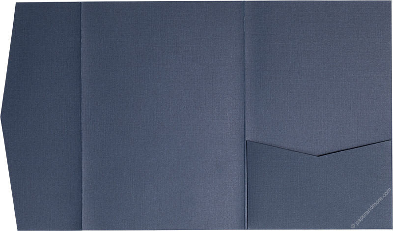 Blazer Blue Linen Pocket Invitation Card, A7 Himalaya - Paperandmore.com