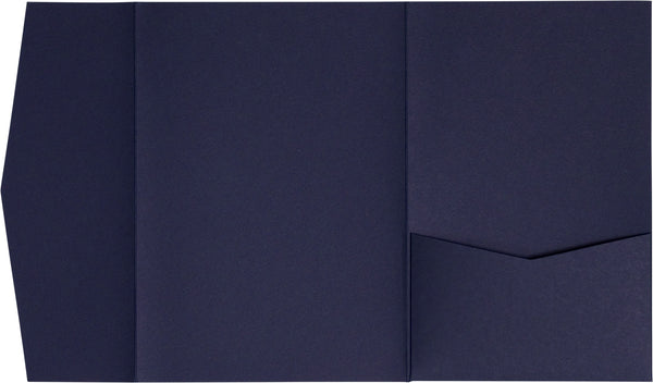 Blazer Blue Solid Pocket Invitation Card, A7 Himalaya