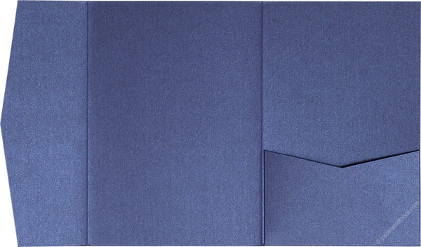 Blueprint Blue Metallic Pocket Invitation Card, A7 Himalaya - Paperandmore.com