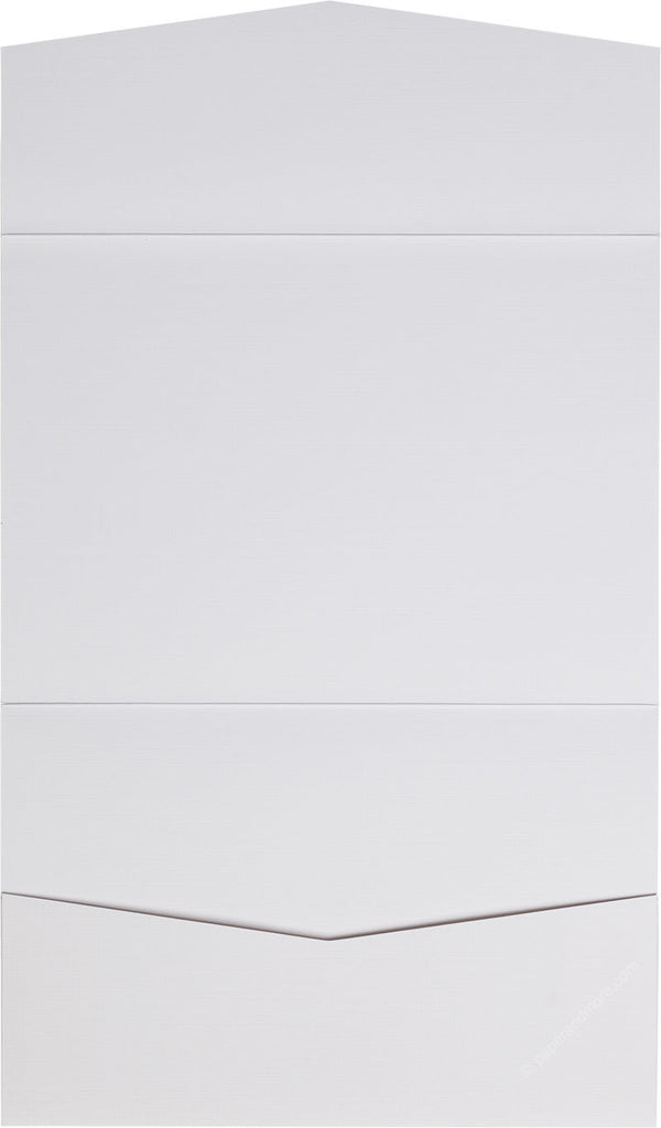 Bright White Linen Pocket Invitation Card, A7 Atlas - Paperandmore.com