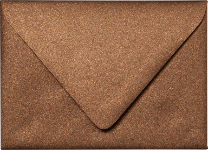 "Outer A-7.5 Bronze Brown Metallic Euro Flap Envelopes (5 1/2"" x 7 1/2"") - Paperandmore.com"