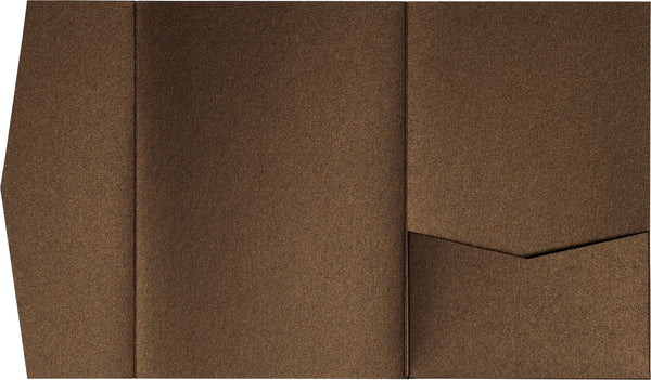 Bronze Brown Metallic Pocket Invitation Card, A7 Himalaya