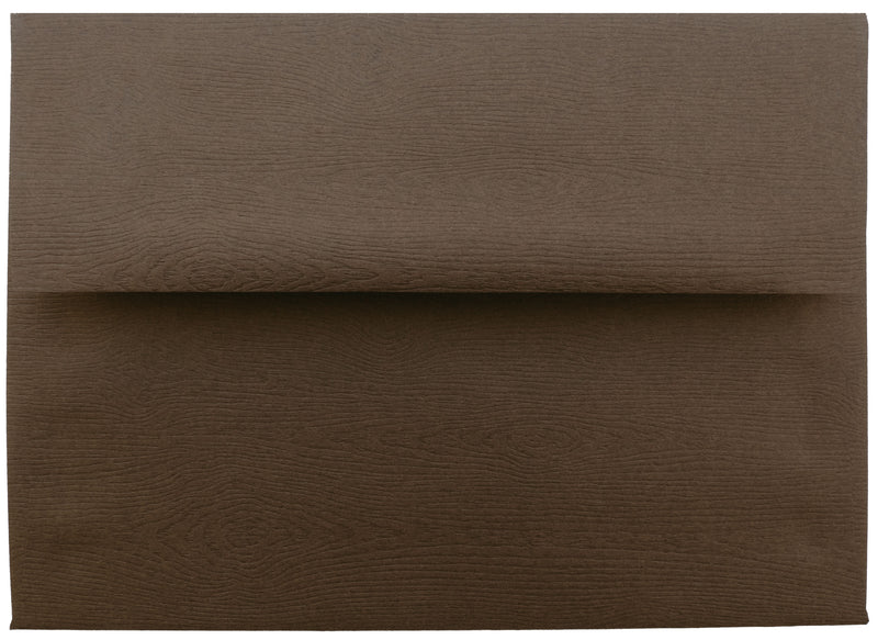 "A-7 Bubinga Brown Embossed Wood Grain Envelopes (5 1/4"" x 7 1/4"") - Paperandmore.com"