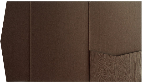 Bubinga Brown Embossed Wood Grain Pocket Invitation Card, A7 Himalaya