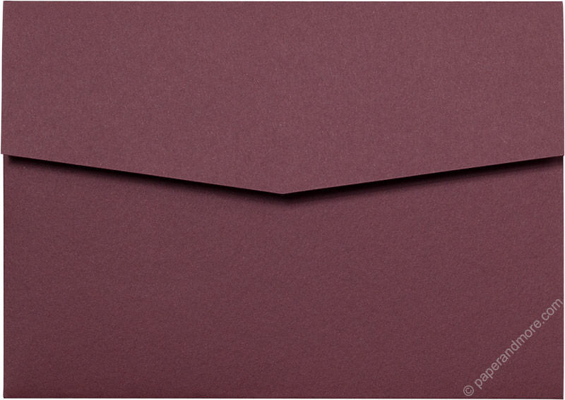 Burgundy Solid Pocket Invitation Card, A7 Himalaya
