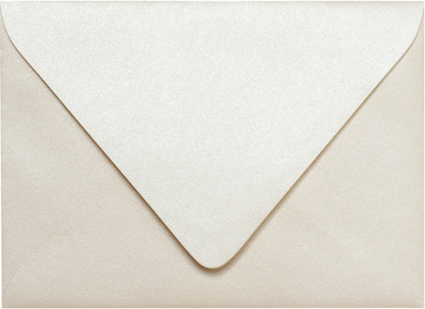 "Outer A-7.5 Champagne Cream Metallic Euro Flap Envelopes (5 1/2"" x 7 1/2"") - Paperandmore.com"