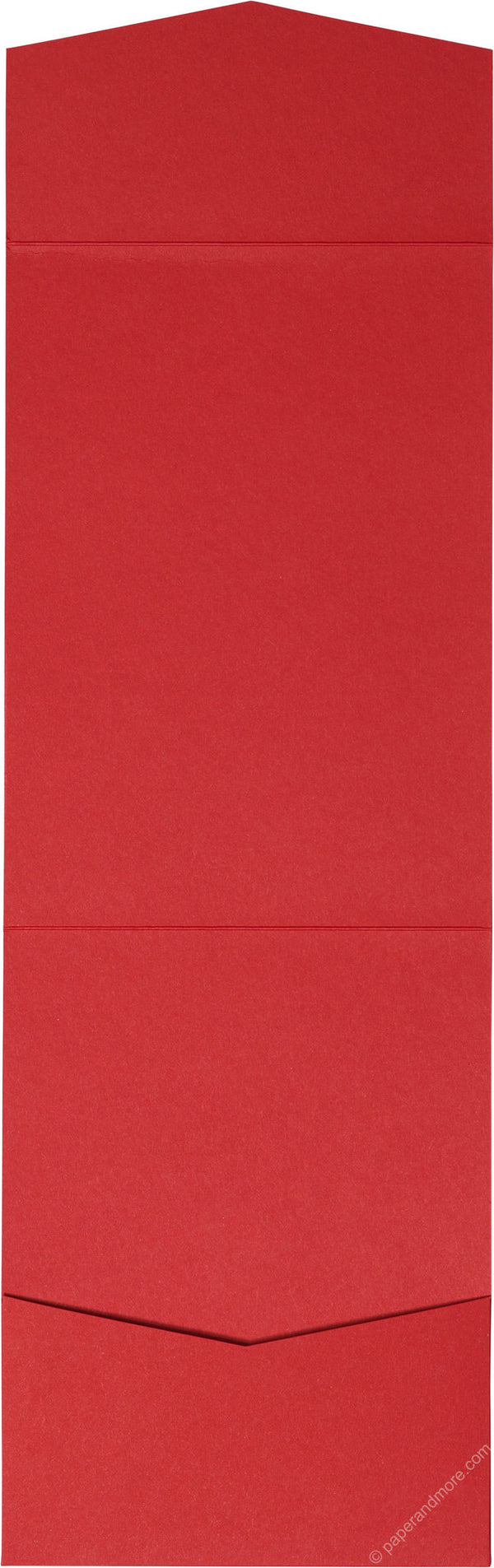 Cherry Red Solid Pocket Invitation Card, A7 Cascade - Paperandmore.com