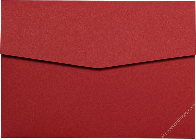 Cherry Red Solid Pocket Invitation Card, A7 Himalaya - Paperandmore.com