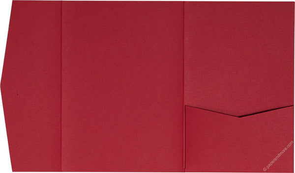 Cherry Red Solid Pocket Invitation Card, A-7.5 Himalaya - Paperandmore.com