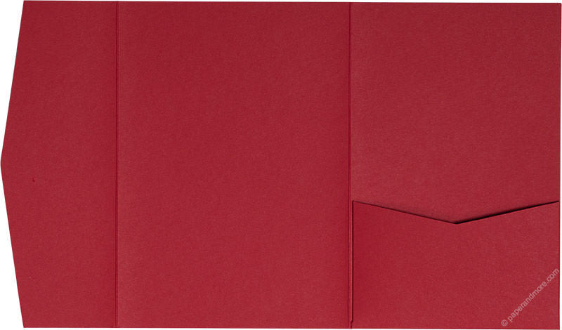 Cherry Red Solid Pocket Invitation Card, A7 Himalaya