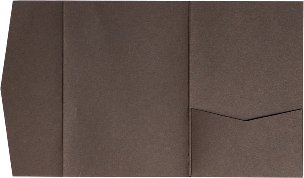 Chocolate Brown Solid Pocket Invitation Card, A7 Himalaya