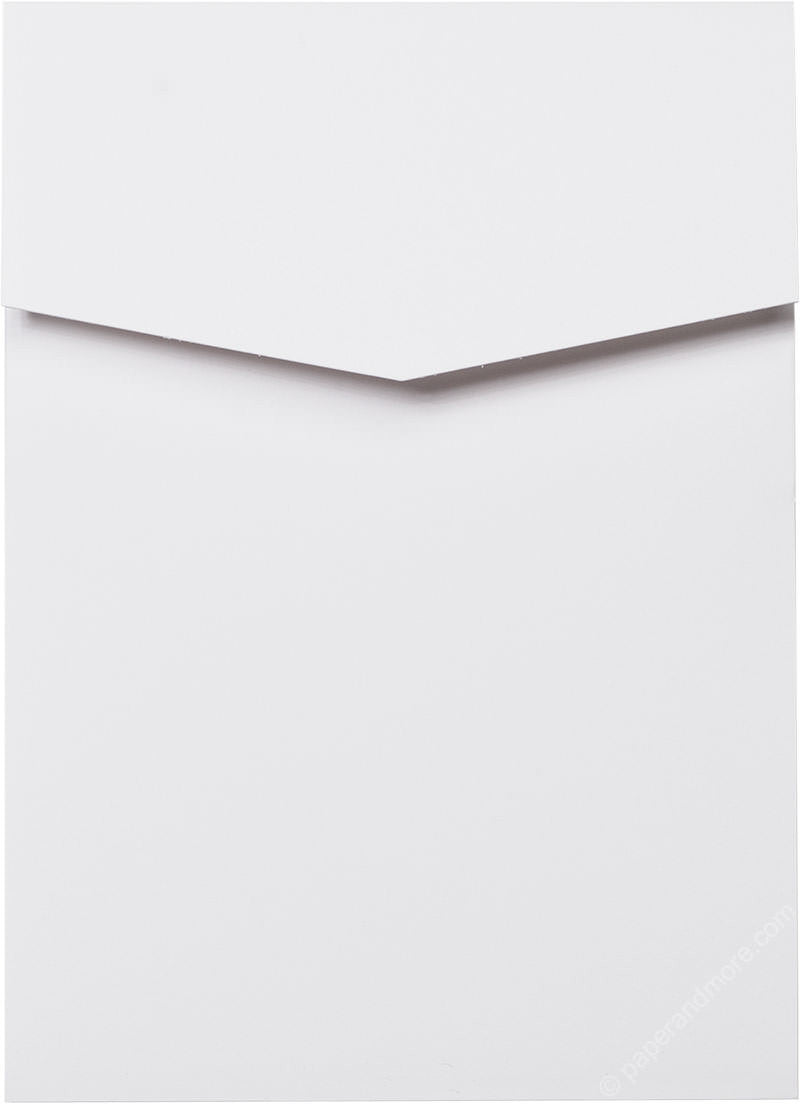 Classic White Solid Pocket Invitation Card, A7 Cascade