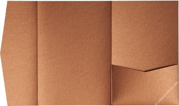Copper Metallic Pocket Invitation Card, A7 Himalaya - Paperandmore.com