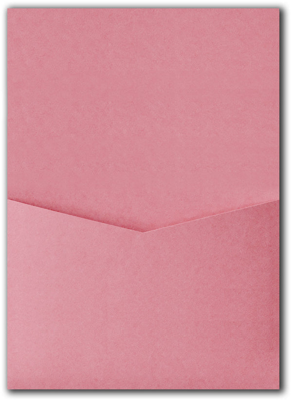 Cotton Candy Pink Solid Pocket Invitation Card, A7 Denali - Paperandmore.com