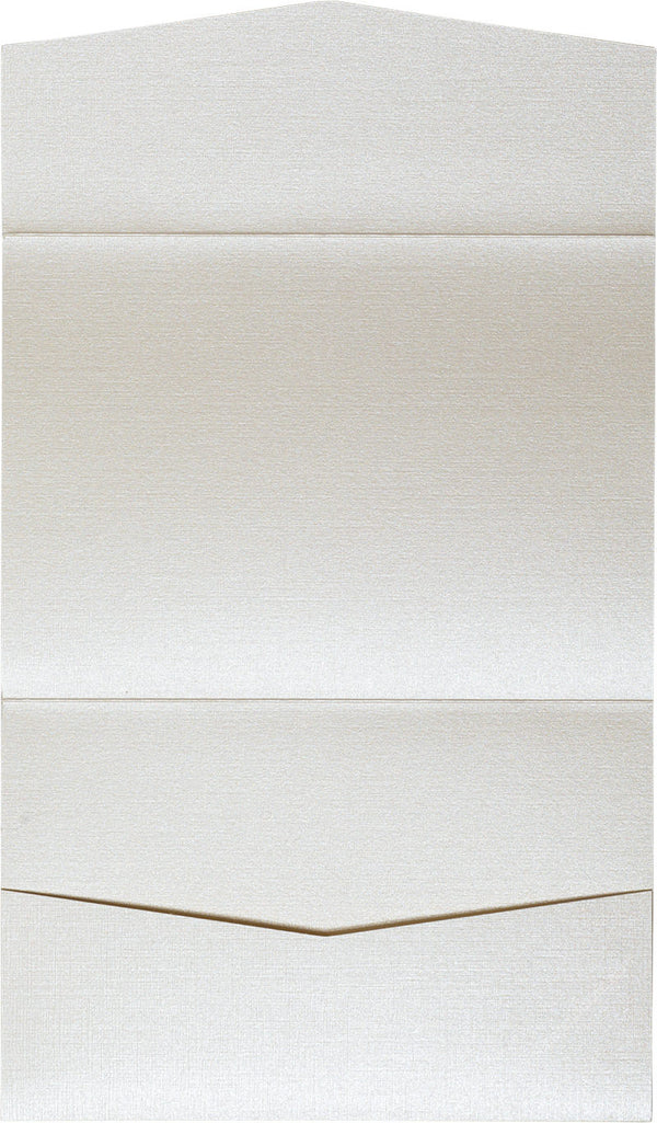 Metallic Cream Linen Pocket Invitation Card, A7 Atlas - Paperandmore.com