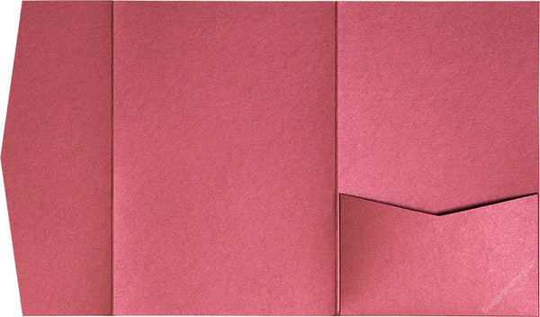 Crimson Red Metallic Pocket Invitation Card, A7 Himalaya - Paperandmore.com