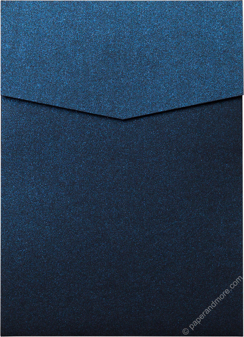 Dark Blue Metallic Pocket Invitation Card, A7 Cascade - Paperandmore.com