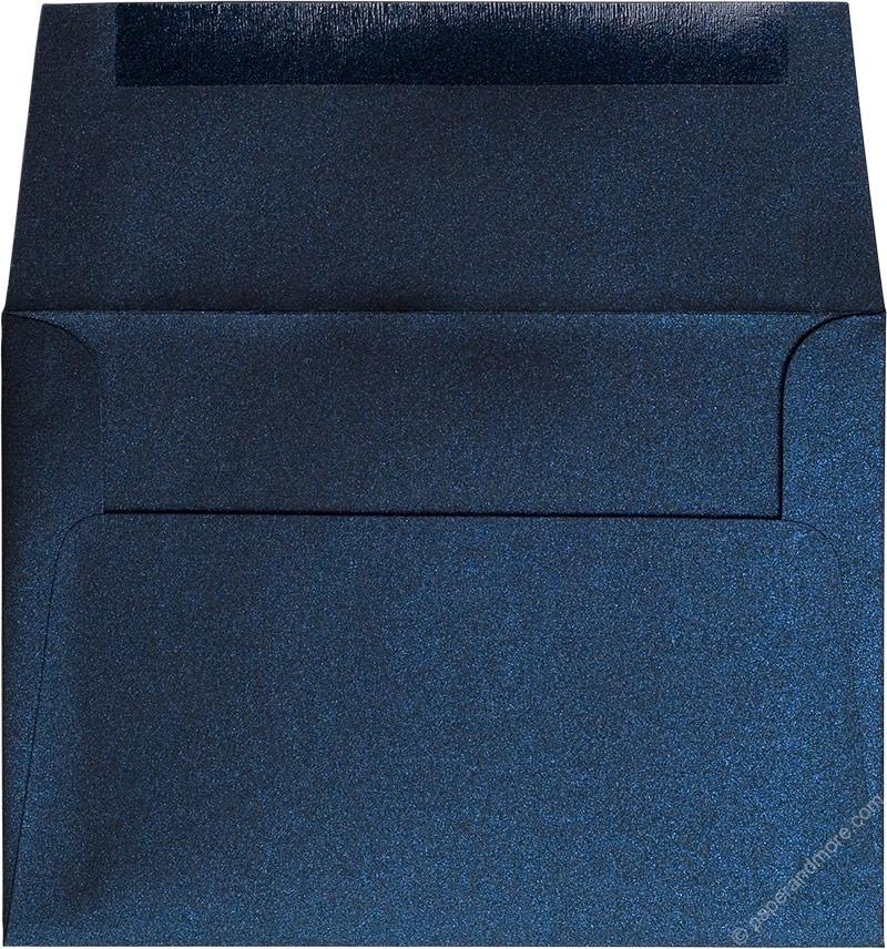 "Outer A-7.5 Dark Blue Metallic Square Flap Envelopes (5 1/2"" x 7 1/2"") - Paperandmore.com"