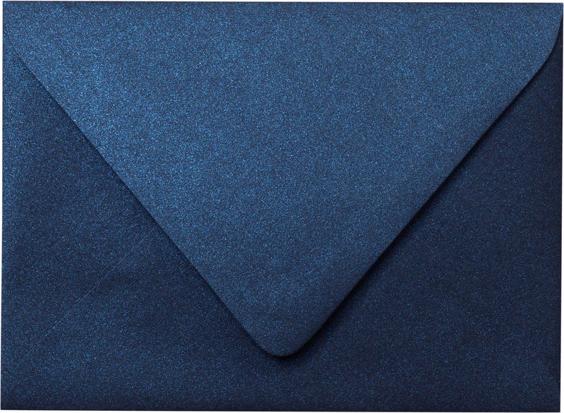"Outer A-7.5 Dark Blue Metallic Euro Flap Envelopes (5 1/2"" x 7 1/2"") - Paperandmore.com"