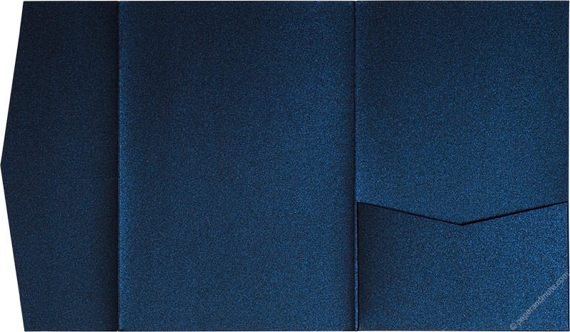 Dark Blue Metallic Pocket Invitation Card, A7 Himalaya