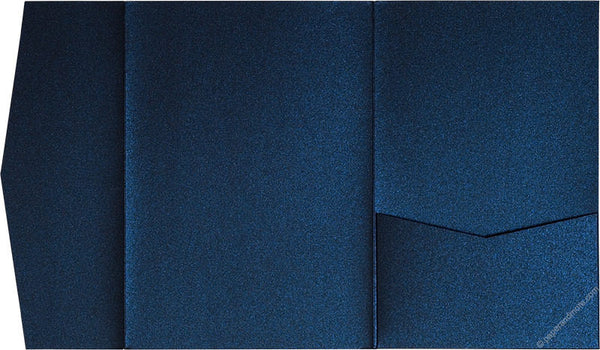 Dark Blue Metallic Pocket Invitation Card, A7 Himalaya - Paperandmore.com
