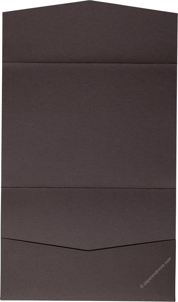 Dark Brown Linen Pocket Invitation Card, A7 Atlas - Paperandmore.com