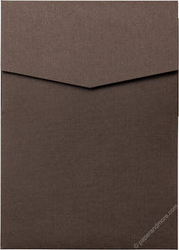 Dark Brown Linen Pocket Invitation Card, A7 Cascade
