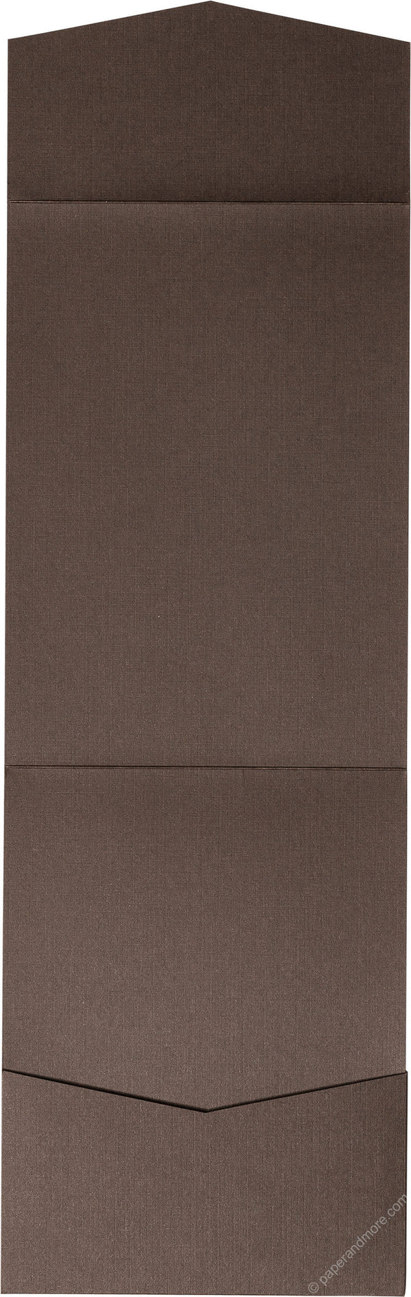 Dark Brown Linen Pocket Invitation Card, A7 Cascade - Paperandmore.com